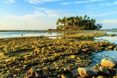 Osamotniona daleka wyspa z skały drzewem i plażą gdy woda morska Zdjęcie Stock
