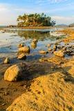 Osamotniona daleka wyspa z skały drzewem i plażą gdy woda morska Obrazy Royalty Free