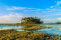 Osamotniona daleka wyspa z skały drzewem i plażą gdy woda morska Obrazy Stock
