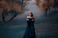 Osamotniona dama ono ściska ramionami zimno wędruje w mgle Przygnębiona miedzianowłosa dziewczyna w błękicie zdjęcie stock