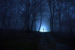 Osamotniona dziewczyna przy lasem Obrazy Royalty Free