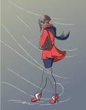 Osamotniona dziewczyna w czerwonym żakiecie Zdjęcie Royalty Free