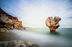 Osamotniona rockowa rzeźba przy kształtem serce, Preveli, Crete Obrazy Stock