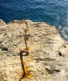 Osamotniona rybaczka przy Cabo De Sao Vincente w Algarve Obrazy Stock