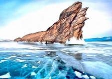 Osamotniona skała w lodzie zimy góry jezioro ilustracji