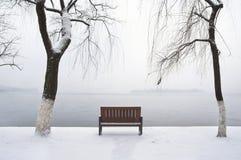 Osamotniona zimy ławka obok Zachodniego jeziora, Hangzhou Zdjęcia Royalty Free