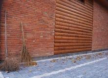 Osamotnione jesieni miotły zdjęcie stock