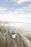 Osamotniony błękitny drewniany serce na plażowych diunach Zdjęcia Royalty Free