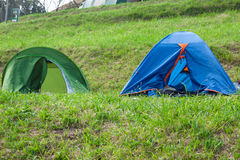 Osamotniony campsite na dalekim Spain wybrzeżu Obraz Royalty Free