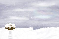 Osamotniony dom na zimy nieba tle Fotografia Royalty Free