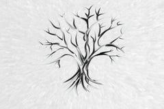Osamotniony drzewo bez liści na białym tle ilustracja wektor
