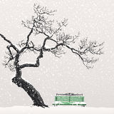 Osamotniony drzewo na śnieżystej ławce ilustracji