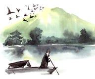 Osamotniony fishman w łodzi Zdjęcia Royalty Free