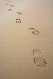 Osamotniony pojedynczy ślad w piasku Fotografia Royalty Free