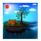 Osamotniony wyspa camping Obrazy Royalty Free