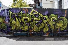 Osaoe Alley Mural works San Francisco, 12. royalty free stock photos