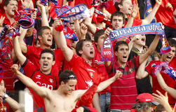 Osasuna supporters. Celebrating goal during a Spanish league match against RCD Espanyol at the Estadi Cornella on May 11, 2014 in Barcelona, Spain Stock Photography