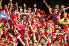 Osasuna supporters celebrating goal. During a Spanish league match against RCD Espanyol at the Estadi Cornella on May 11, 2014 in Barcelona, Spain Stock Photo