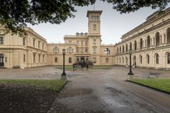 Osborne House Isle of Wight. Osborne House is a former royal residence in East Cowes, Isle of Wight, United Kingdom. The house was built between 1845 and 1851 royalty free stock photo