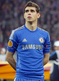 Oscar of Chelsea London. Chelsea's football player, Oscar, posing before a Europa League football game Stock Images