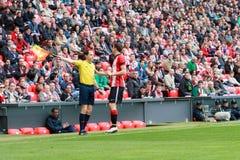 Oscar de Marcos e Alonso Fernandez, arbitro di calcio Fotografia Stock