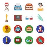 Oscar de récompense, cinéma, verres 3D Films et icônes réglées de collection de film dans la bande dessinée, actions plates de sy illustration de vecteur