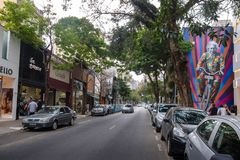 Oscar Freire, μια φανταχτερή οδός αγορών - Σάο Πάολο, Βραζιλία στοκ εικόνες