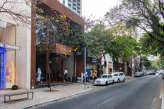 Oscar Freire en utsmyckad shoppinggata - Sao Paulo, Brasilien arkivbilder