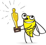 And Oscar goes to ... Cartoon Bee presents Oscar. Vector illustration Royalty Free Stock Photos