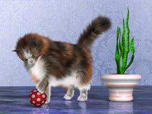 Oscar the House Cat. Oscar, a calico cat, plays with a red ball on a purple marble floor Stock Photos
