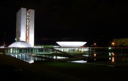 Oscar Niemeyer - The National Congress of Brazil. The National Congress of Brazil, in Brasilia city, one of the most beautiful project of the famous architect Stock Images
