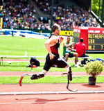 Oscar Pistorius. Oscar Leonard Carl Pistorius (born 22 November 1986) is a South African sprint runner. Known as the Blade Runner and the fastest man on no legs Royalty Free Stock Photos