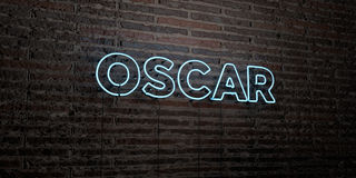 OSCAR -Realistic Neon Sign on Brick Wall background - 3D rendered royalty free stock image. Can be used for online banner ads and direct mailers Stock Photos