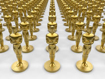 Oscar statue collection. 3D rendered illustration of multiple Oscar statues arranged in a rectangular pattern over a white background Royalty Free Stock Photos