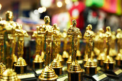 Oscar statues souvenirs at a gift shop. NEW YORK CITY - MARCH 27: Oscar statues souvenirs at a gift shop in New York on March 27, 2014 Royalty Free Stock Image