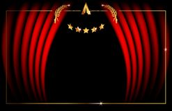 Oscar template concept, vector illustration abstract golden stars frame logo icon, red carpet cinema films concept royalty free illustration