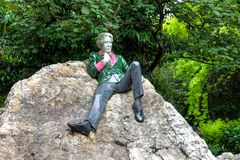 Oscar Wilde monument in Merrion Square Park, Dublin, Ireland. The famous statue of the Irish poet and playwright royalty free stock photography
