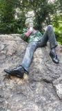 Oscar Wilde monument in Merrion Square Park, Dublin, Ireland royalty free stock image