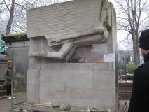Oscar Wilde`s grave stone monument in the Père Lachaise Cemetery, Paris stock image