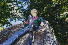Oscar Wilde ` s statua w Merrion kwadrata parku w Dublin miasta centr zdjęcie royalty free