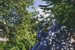 Oscar Wilde-` s Statue im Merrions-Quadrat-Park in Dublin-Stadt centr Stockfoto