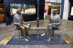 Oscar Wilde statue in Shop Street. Galway is a host to Oscar Wilde Festival royalty free stock photography