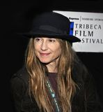 Holly Hunter at the 2nd Tribeca Film Festival. Oscar-winning actress Holly Hunter graces the red carpet as she arrives for the premiere of `The In-Laws` at the Royalty Free Stock Photos