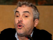 The oscar-winning director alfonso Cuarón. Celebrated by the Mayor and the City Council of the municipality of Pietrasanta Italy on his return from royalty free stock photos