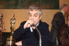 The oscar-winning director alfonso Cuarón. Celebrated by the Mayor and the City Council of the municipality of Pietrasanta Italy on his return from stock photos