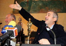 The oscar-winning director alfonso Cuarón. Celebrated by the Mayor and the City Council of the municipality of Pietrasanta Italy on his return from royalty free stock image