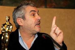 The oscar-winning director alfonso Cuarón. Celebrated by the Mayor and the City Council of the municipality of Pietrasanta Italy on his return from royalty free stock photography