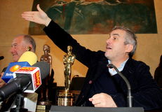 The oscar-winning director alfonso Cuarón. Celebrated by the Mayor and the City Council of the municipality of Pietrasanta Italy on his return from stock images