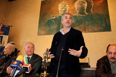 The oscar-winning director alfonso Cuarón. In the picture the director and the mayor of Pietrasanta Domenico Lombardi. The oscar-winning director Alfonso Cuar stock image