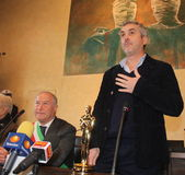 The oscar-winning director alfonso Cuarón. In the picture the director and the mayor of Pietrasanta Domenico Lombardi. The oscar-winning director Alfonso Cuar stock photo